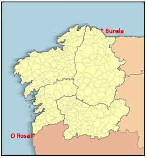 Figure 1. Map of Galicia, showing the two districts where Vespa velutina was first detected in 2012