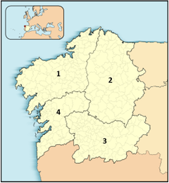 Figure 5. Map of Europe where Galicia is highlighted, with their Provinces of: A Coruña (1), Lugo (2), Ourense (3) and Pontevedra (4).